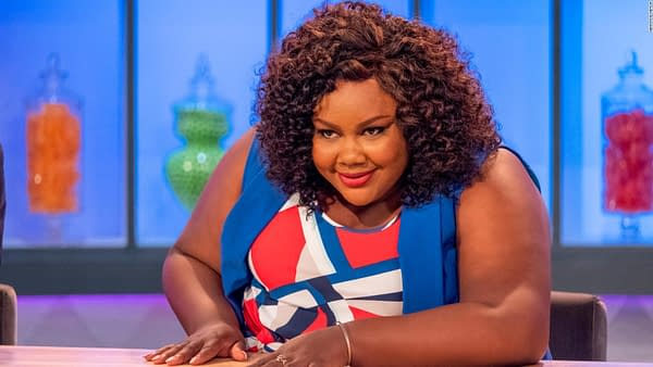 Host Nicole Byer can't quite believe what she's seeing on Nailed It, courtesy of Netflix.