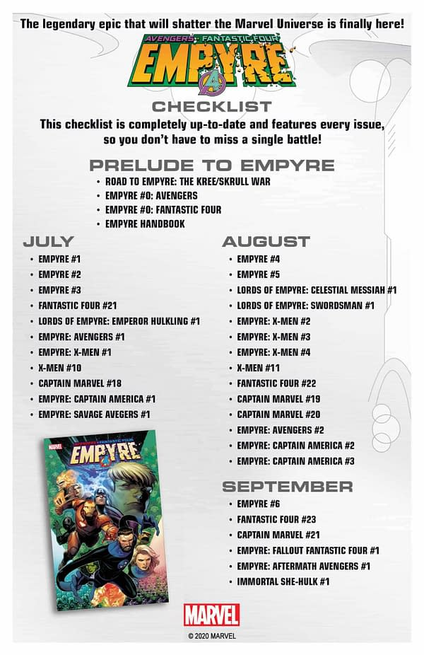 Empyre: A Complete New Checklist And Schedule from Marvel Comics,