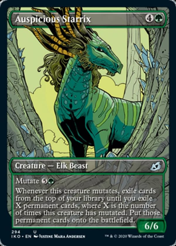 Auspicious Starrix, a new card from the Ikoria: Lair of Behemoths set for Magic: The Gathering.
