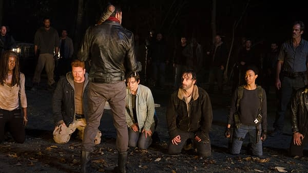 Michael Cudlitz as Abraham and Jeffrey Dean Morgan as Negan in The Walking Dead, courtesy of AMC Networks.