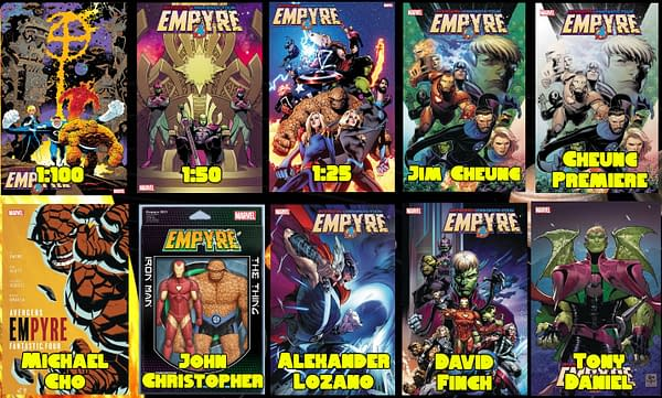 Empyre #1 cover variants from Marvel Comics.