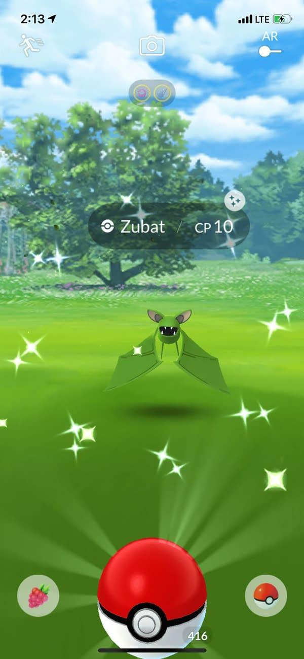 A wild encounter with Zubat. Credit: Screenshot of Niantic's Pokémon GO from my phone.