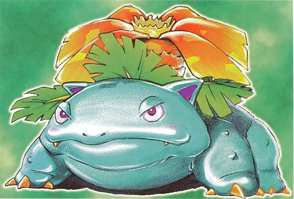 The artwork for Venusaur from the Pokémon Trading Card Game's original Base Set. Illustrated by Mitsuhiro Arita. The card this artwork features on is on auction at Heritage Auctions right now!