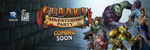 """The """"Coming Soon"""" header for Renegade Game Studios' Clank! Adventuring Party."""