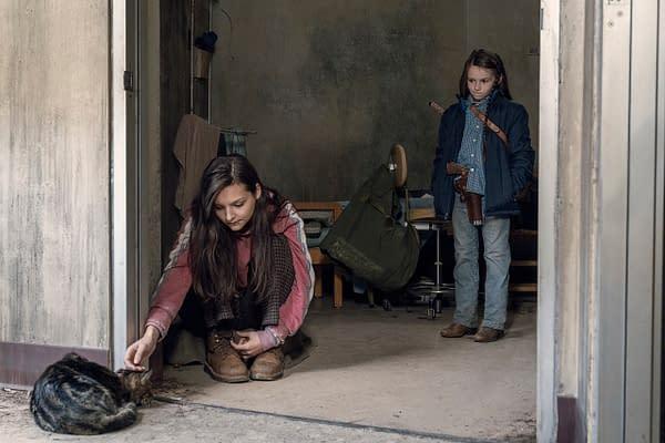 Cassady McClincy's Lydia speaks with Cailey Fleming's Judith Grimes in The Walking Dead Season 10, Episode 15