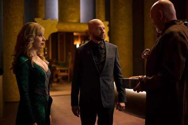 """Supergirl -- """"Immortal Kombat"""" -- Image Number: SPG519B_0082r.jpg -- Pictured (L-R): Cara Buono as Gamemnae, Jon Cryer as Lex Luthor and Mitch Pileggi as Rama Khan -- Photo: Kailey Schwerman/The CW -- © 2020 The CW Network, LLC. All rights reserved."""