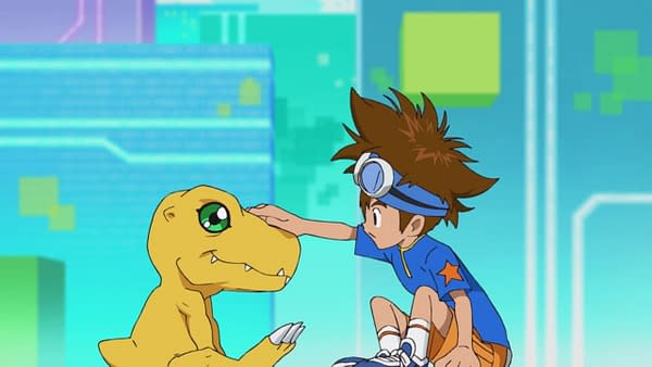 Tai and Agumon meet on Digimon Adventure 2020, courtesy of Toei Animation.