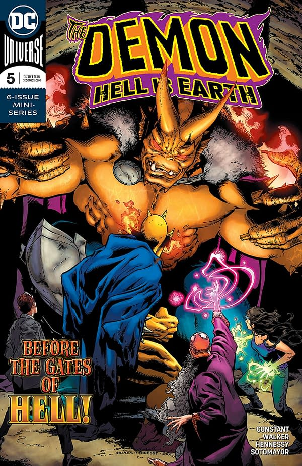 Demon: Hell is Earth #5 cover by Brad Walker, Andrew Hennessy, and Chris Sotomayor