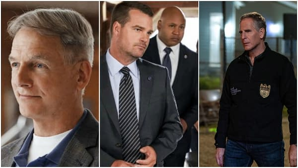 Mark Harmon in NCIS. Chris O'Donnell and LL Cool J in NCIS: Los Angeles. Scott Bakula in NCIS: New Orleans. Images courtesy of CBS.