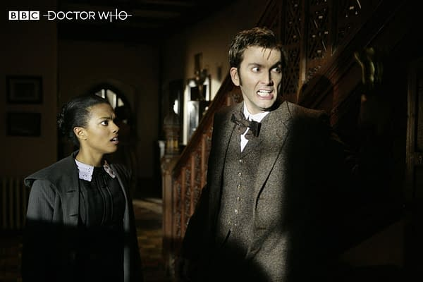 The Doctor and Martha in Human Nature/Family of Blood on Doctor Who, courtesy of BBC Studios.