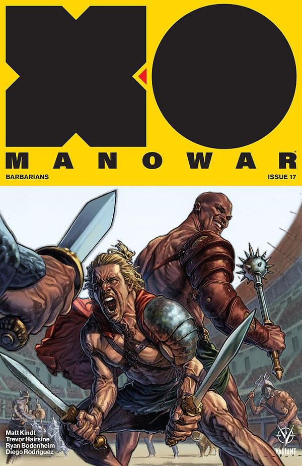 X-O Manowar #17 cover by Lewis Larosa and Diego Rodriguez