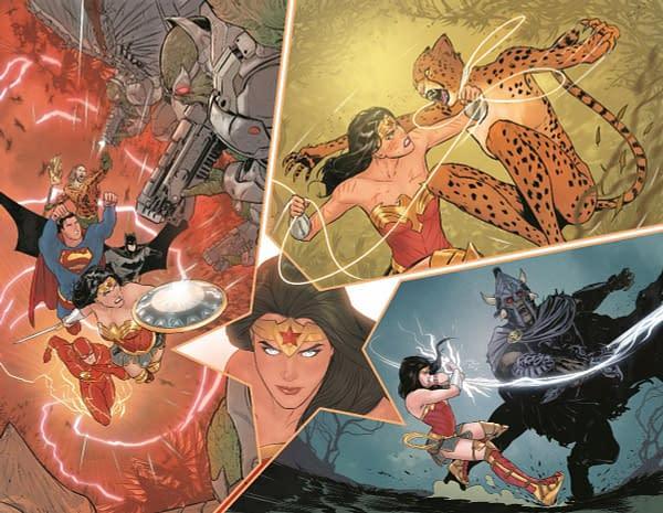 Diana Vs Dinosaurs in Mariko Tamaki and Mikel Janin's Wonder Woman .