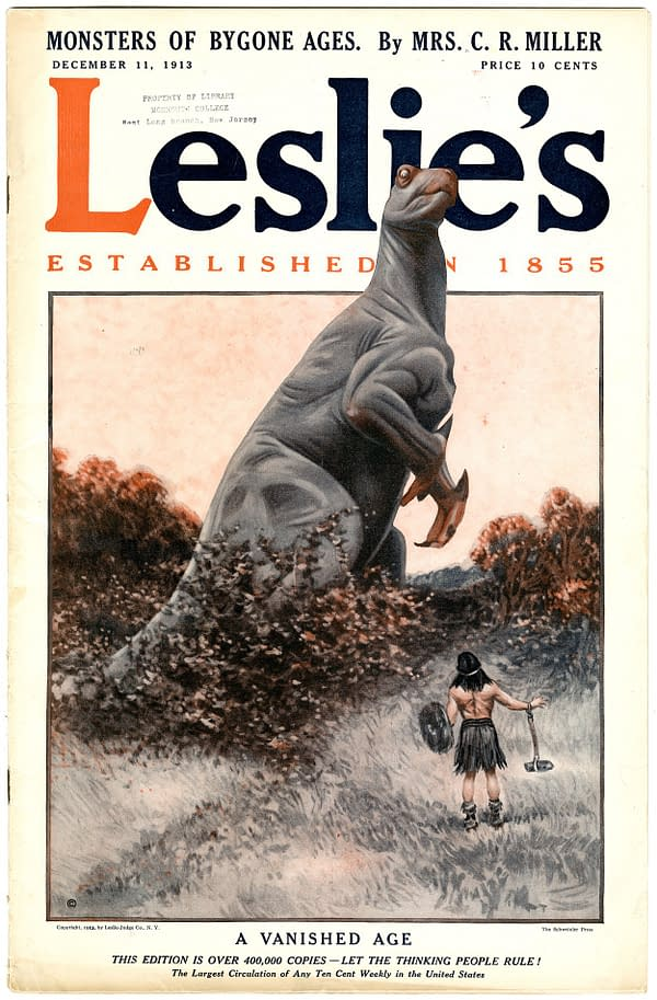 Leslies Magazine, December 11, 1913, inspired by The Lost World.