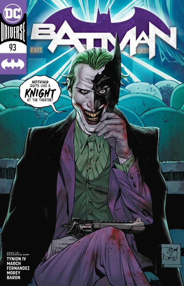 The cover of Batman #93 published by DC Comics with the creative team: of James Tynion the 4th, Guillem March, Javier Fernandez, Tomeu Morey, David Baron, and Clayton Cowles.