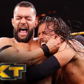 Finn Balor versus Adam Cole on NXT, courtesy of WWE.