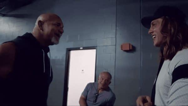 Goldberg and Matt Riddle meet backstage, courtesy of WWE.