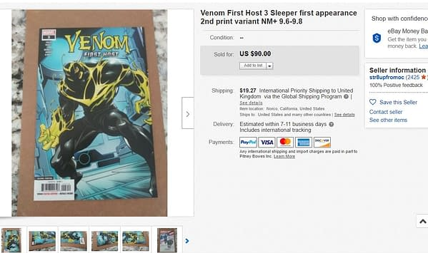 Venom: First Host #3 Second Printing Rockets In Price