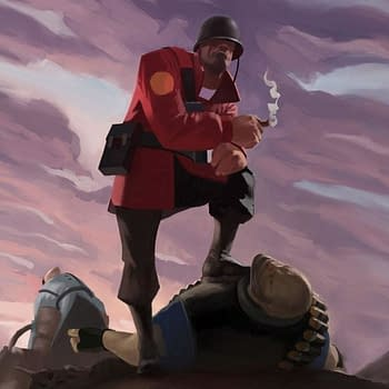 The Soldier character from Valve's Team Fortress 2 standing in a victory pose.