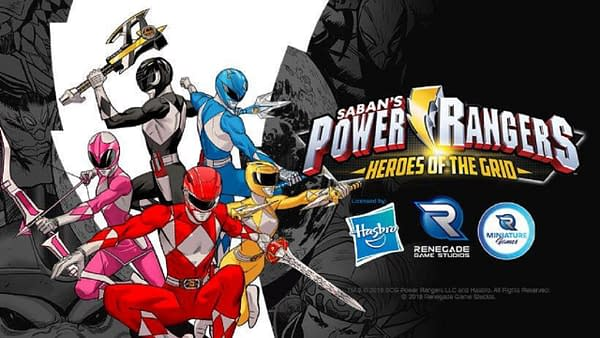 The logo for Power Rangers: Heroes of the Grid, featuring the Mighty Morphin' Power Rangers.
