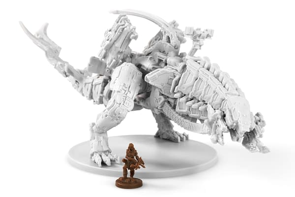 The Thunderjaw as rendered into a miniature in Horizon Zero Dawn: The Board Game. Shown with a human miniature for scale purposes.