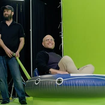 Alton Brown behind the scenes of Good Eats: Reloaded, courtesy of Cooking Channel.