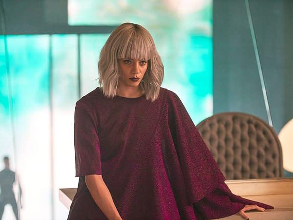 "BRAVE NEW WORLD -- ""Pilot"" Episode 101 -- Pictured: Hannah John-Kamen as Wilhelmina 'Helm' Watson -- (Photo by: Steve Schofield/Peacock)"
