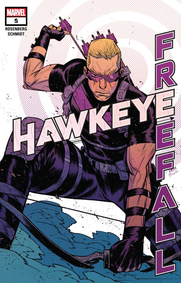 The cover of Hawkeye: Freefall #5 published by Marvel Comics with the creative team of Matthew Rosenberg, Otto Schmidt, and Joe Sabino.