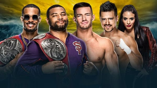 It's the Street Profits versus Angel Garza and Austin Theory competing for the titles at WrestleMania 36, photo courtesy of WWE.