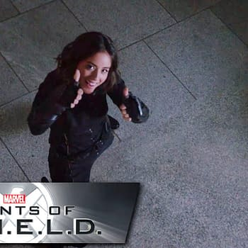 Chloe Bennet has a little fun on the set of Marvel's Agents of S.H.I.E.L.D., courtesy of ABC.