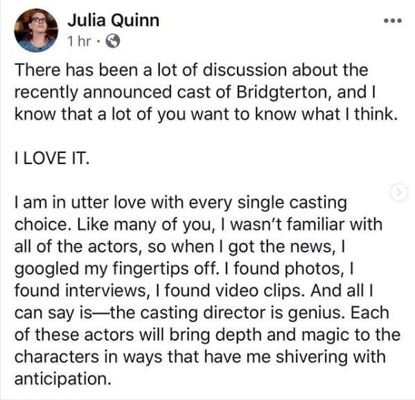 """Shondaland's Netflix Series """"Bridgerton"""" Makes Major Casting Announcement"""