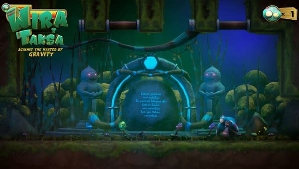 A gameplay still from Wyra & Taksa Against the Master of Gravity by 3S Design. Note that it is not in English.