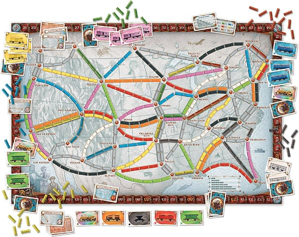 The game board of the original Ticket To Ride core game by Days of Wonder.
