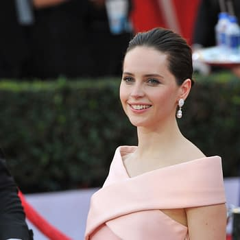 Felicity Jones at the 2015 Screen Actors Guild Awards at the Shrine Auditorium.