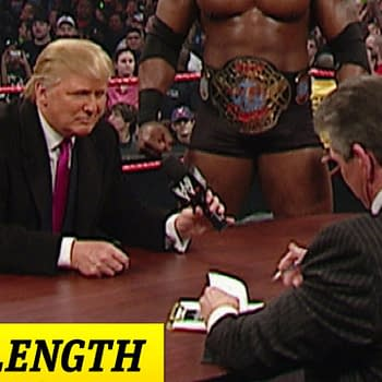 Mr. McMahon and Donald Trump's Battle of the Billionaires contract signing. courtesy of the WWE.