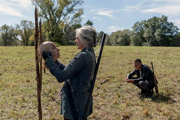 Melissa McBride as Carol Peletier, Jeffrey Dean Morgan as Negan - The Walking Dead _ Season 10, Episode 14 - Photo Credit: Jace Downs/AMC