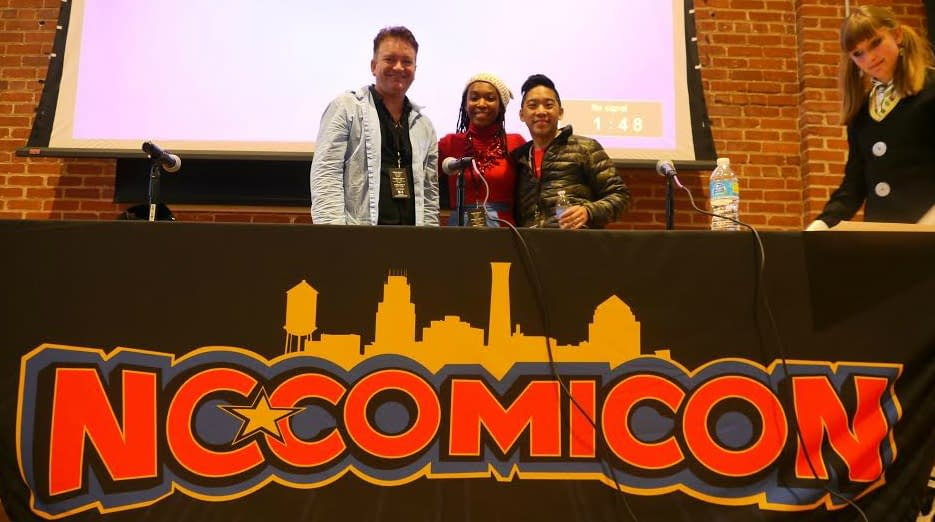 Afua Richardson stands front and center at a previous NC Comicon panel. Photo courtesy Camron Wiltshire.