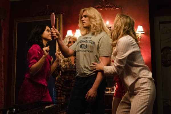 Veronica, Toni, and Betty convince Kevin to be the lead in the school's musical on Riverdale, courtesy of The CW.