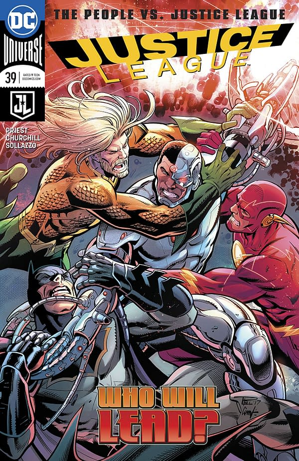 Justice League #39 cover by Paul Pelletier and Adriano Lucas