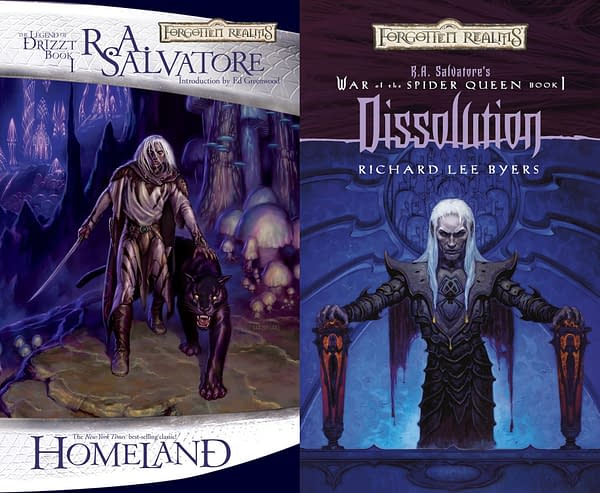 The covers of The Legend of Drizzt and The War of the Spider Queen.
