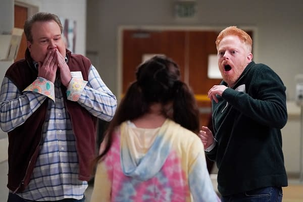 Modern Family stars Eric Stonestreet as Cam, Aubrey Anderson-Emmons as Lily, and Jesse Tyler Ferguson as Mitch.