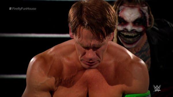 John Cena is broken by The Fiend at WrestleMania 36.