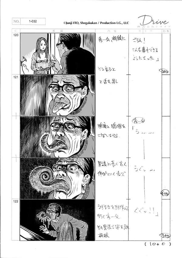 The first storyboard still from Junji Ito's anime adaptation of his classic manga, Uzumaki.