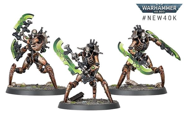 A unit of three Skorpekh Destroyers - very likely much worse to deal with than just one. From Games Workshop.