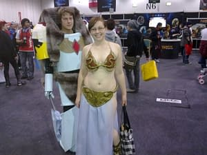 """""""It wouldn't be cosplay without one slightly chubby bespectacled Slave Princess Leia!"""""""