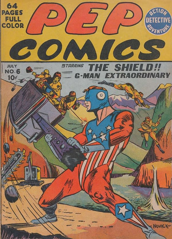 The cover of Pep Comics #6 featuring The Shield.