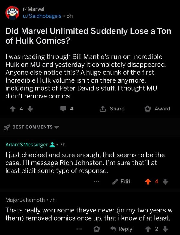 Have a Load of Hulk Issues Disappeared From Marvel Unlimited For You?