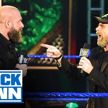 Shawn Michaels roasts Triple H with impromptu tribute on SmackDown, courtesy of WWE.