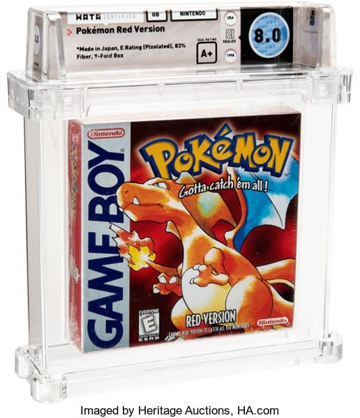 The front of the Wata-graded 8.0 A+ English copy of the Pokémon Red Version game for Game Boy Color, on auction at Heritage Auctions.