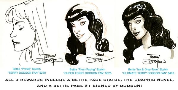 Terry Dodson Adds Original Art to the Bettie Page Statue Kickstarter