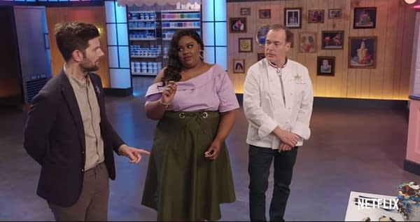 Host Nicole Byer, co-host Jacques Torres, and guest judge Adam Scott discuss their decisions on Nailed It, courtesy of Netflix